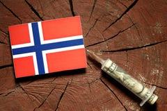 Norsk flagga på en stubbe med injektionssprutan som injicerar pengar Royaltyfri Bild