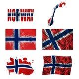 Norsk flaggacollage Arkivbild
