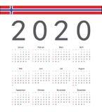 Norsk kalender för 2020 år för fyrkant vektor vektor illustrationer