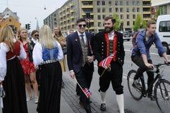NORSK UPPEHÄLLE I DENAMRK CELEBRAT DERAS NAATIONAL-DAG Arkivbild