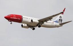 Norska flygbolag Boeing 737 Arkivfoto