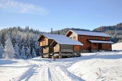 Norska snöig hus Arkivbild
