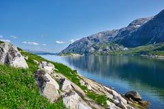 Norskt fjordberglandskap Arkivbilder