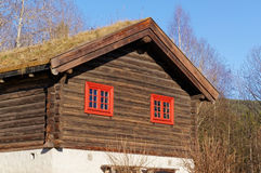 Norskt historiskt hus med ett grönt tak Royaltyfri Bild