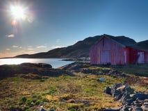 Norskt kustlandskap med ett typisk rött hus Trärött hus på sjösidan Royaltyfri Fotografi