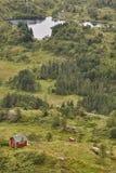 Norskt landskap med kabiner Ulriken berg Bergen surrou Arkivfoto