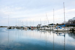 Norsminde harbor - Danish evening quiet Stock Image