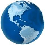 Norte azul y Suramérica de la tierra Imagen de archivo libre de regalías