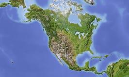 Norte e América Central, mapa de relevo protegido Imagem de Stock