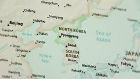 Norte y sur Corea en un mapa con Defocus