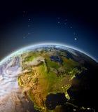 Norteamérica de la órbita ilustración del vector