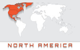 Norteamérica en el mapa Imagenes de archivo