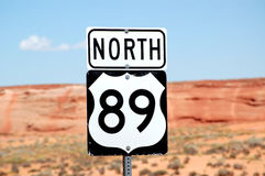 North 89 Highway Sign Stock Images