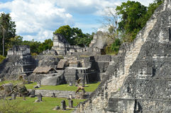 North Acropolis structures on the Grand Plaza of Tikal National. Park and archaeological site, Guatemala royalty free stock images