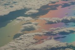 North of the Aegean sea and coast of Turkey saw from an airplane. Colors produced when light is passed through the airplane window royalty free stock photos