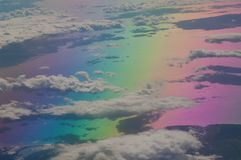 North of the Aegean sea and coast of Turkey saw from an airplane. Colors produced when light is passed through the airplane window stock photography