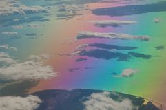 North of the Aegean sea and coast of Turkey saw from a plane. Colors produced when light is passed through the plane window stock image