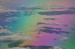 North of the Aegean sea and coast of Turkey saw from a plane. Colors produced when light is passed through the plane window royalty free stock images