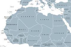 North Africa countries political map. With borders. English labeling. From Atlantic shores of Morocco to the Red Sea. Maghreb and Mediterranean countries. Gray Stock Images