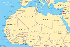 North Africa countries political map Stock Photos