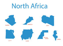 North africa - maps of territories Stock Images