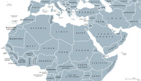 North Africa and Middle East political map. With countries and borders. English labeling. Maghreb, Mediterranean, West and Central Asian countries. Gray stock illustration