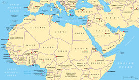 North Africa and Middle East political map. With most important capitals and international borders. Maghreb, Mediterranean, West and Central Asian countries vector illustration