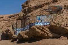 North african fishing house in Morocco. Traditional north african blue painted fishing house in Morocco royalty free stock photography