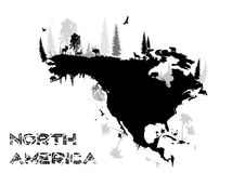 North America. The funny map of the North America in the vectors Royalty Free Stock Photos