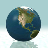 North America 3D Globe. Earth world globe in 3D, facing North America Royalty Free Stock Photo