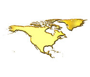 North America 3d Golden Map Royalty Free Stock Images