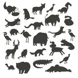 North America animals silhouettes, isolated on white background vector illustration. Black contour big vector set Royalty Free Stock Photography