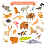 North America animals  vector illustration. Big vector set.  on white background Stock Photo