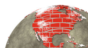 North America on brick wall Earth Royalty Free Stock Photography