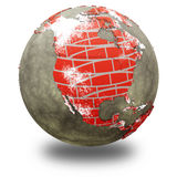 North America on brick wall Earth Stock Images