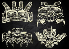 North America and Canada native art. In black and white Stock Images