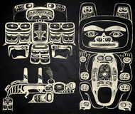 North America and Canada native art. In black and white Royalty Free Stock Images
