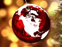 North America on Christmas ball royalty free stock images