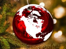 North America on Christmas ball. North America on shiny Christmas ball in shape of planet Earth hanging from Christmas tree. 3D illustration. Elements of this royalty free stock photography