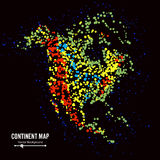 North America. Continent Map Abstract Background Vector. Formed From Colorful Dots Isolated On Black. Royalty Free Stock Image