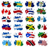 North America countries flag blots. On a white background Stock Images