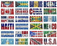 North America countries flag words. On a white background Stock Photos