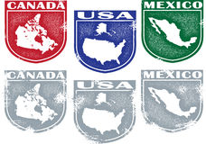 North America Country Stamps Royalty Free Stock Photo