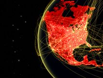 North America on dark Earth with network representing telecommunications, internet or intercontinental air traffic. 3D. Illustration. Elements of this image stock illustration