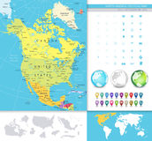 North America detailed political map Royalty Free Stock Images