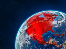 North America on Earth with borders. North America on realistic model of planet Earth with country borders and very detailed planet surface and clouds. 3D royalty free stock photo