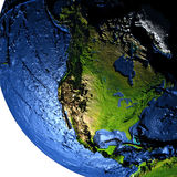 North America on Earth at night with exaggerated mountains. North America on model of Earth with exaggerated surface features including ocean floor. 3D Stock Photo