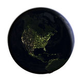 North America on Earth at night isolated on white Royalty Free Stock Images