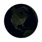 North America on Earth at night isolated on white Stock Photos