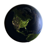North America on Earth at night isolated on white Royalty Free Stock Photos